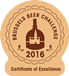 Brussels Beer Challenge 2016 - Certificate of Excellence